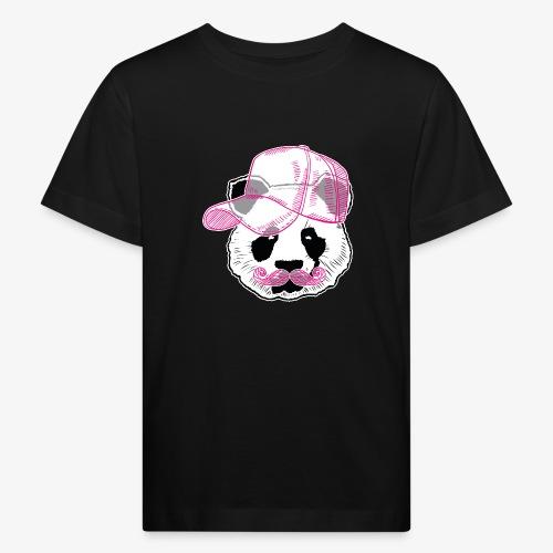Panda - Pink - Cap - Mustache - Kinder Bio-T-Shirt