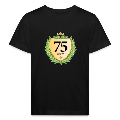 75. Geburtstag Wappen Lorbeerkranz goldene Sterne - Kids' Organic T-Shirt