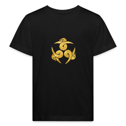 Three Geese Japanese Kamon in gold - Kids' Organic T-Shirt