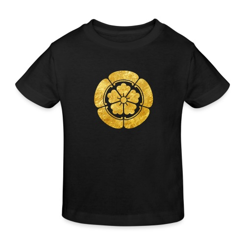 Oda Mon Japanese samurai clan faux gold on black - Kids' Organic T-Shirt