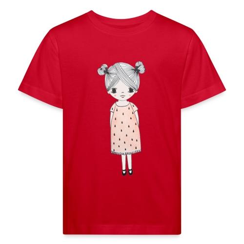 lachend meisje met knotjes - Kinderen Bio-T-shirt