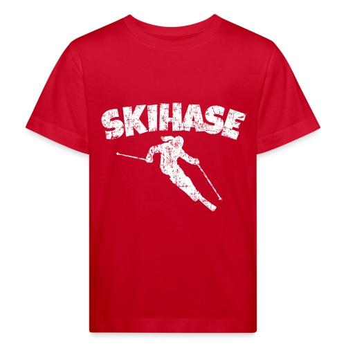 Skihase (Vintage/Weiss) Ski Skifahrerin - Kinder Bio-T-Shirt