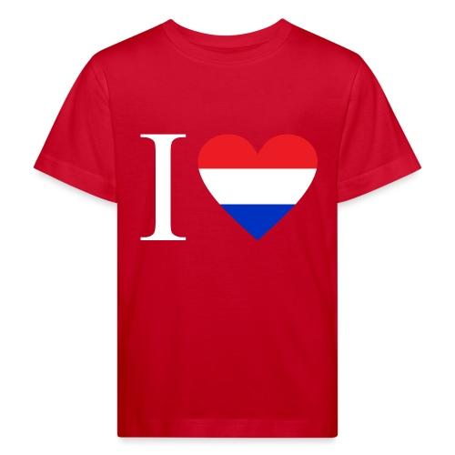 Ik hou van Nederland | Hart met rood wit blauw - Kinderen Bio-T-shirt