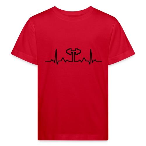 Herzschlag-Hantel, Bodybuilding, Crossfit, Fitness - Kinder Bio-T-Shirt