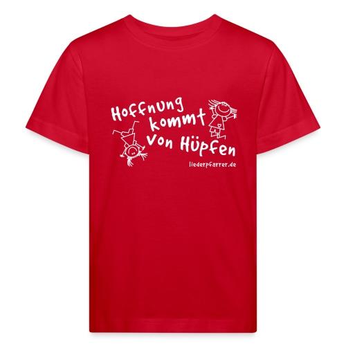 Hoffnung kommt von Hüpfen - Kontrastline - Kinder Bio-T-Shirt