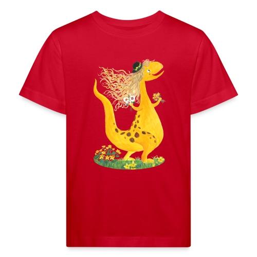 Sumpfdotterdino mit schwarzem Logo - KlingBim - Kinder Bio-T-Shirt