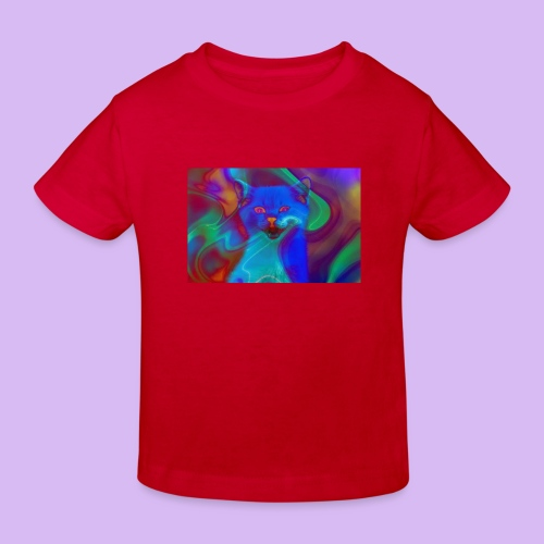 Gattino con effetti neon surreali - Maglietta ecologica per bambini
