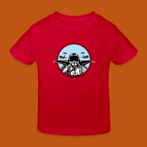 Jet Pilot / Kampfpilot 01_weiß Schwarz - Kinder Bio-T-Shirt