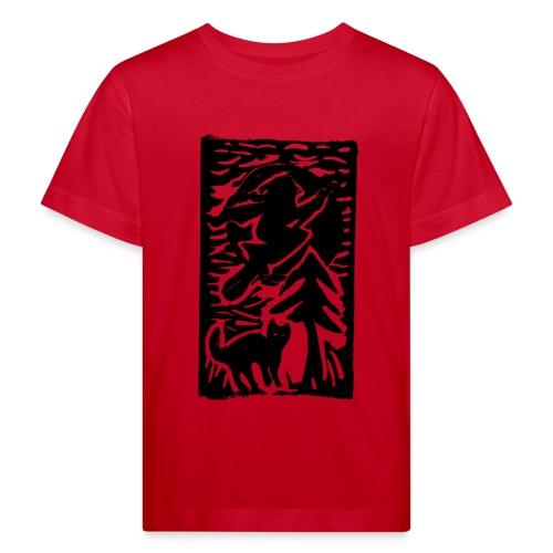 Hexe mit Katze - Kinder Bio-T-Shirt