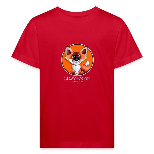 llwynogyn - a little red fox (white) - Lasten luonnonmukainen t-paita