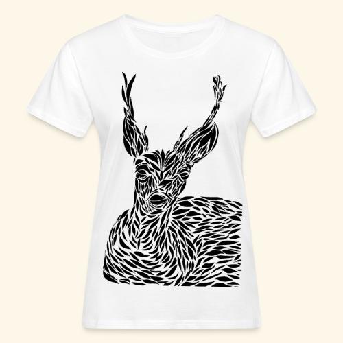 deer black and white - Naisten luonnonmukainen t-paita