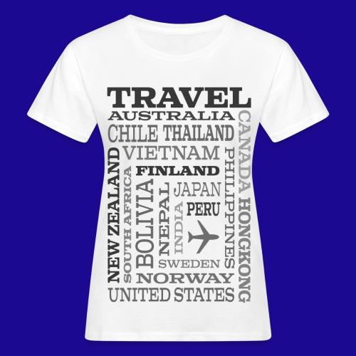 Travel Places Gray design - Naisten luonnonmukainen t-paita