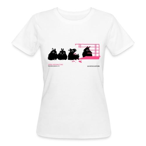 gegen käfighaltung auf weiß j - Frauen Bio-T-Shirt