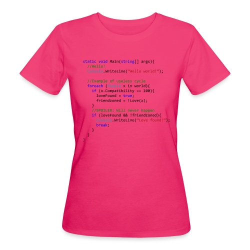 Love seen by a C# programmer - T-shirt ecologica da donna