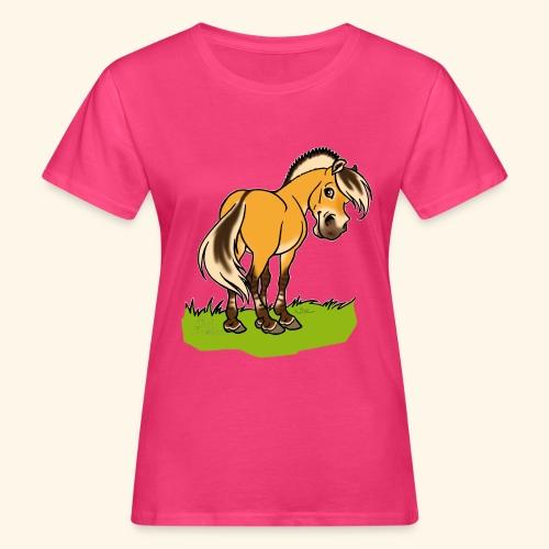 Freundliches Fjordpferd (Ohne Text) Weisse Umrisse - T-shirt bio Femme