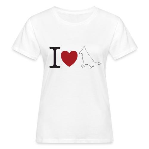 I LOVE White Dog - Ekologiczna koszulka damska