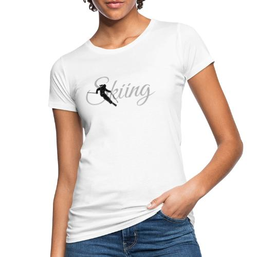 Skiing Skifahrerin (Grau) Wintersport Apres-Ski - Frauen Bio-T-Shirt