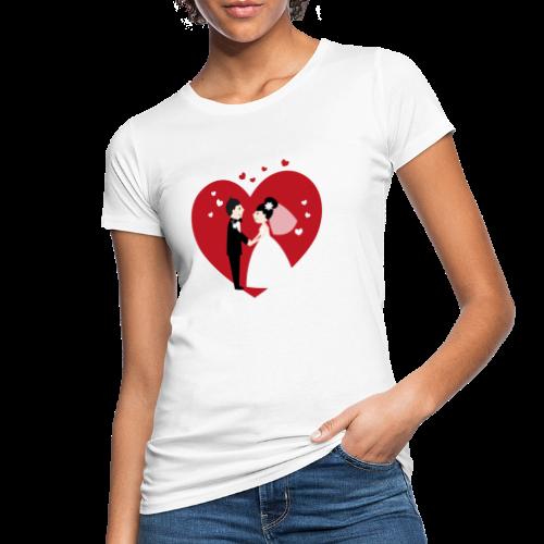 Hochzeitspaar im Comic Stil mit Rotem Herz - Frauen Bio-T-Shirt