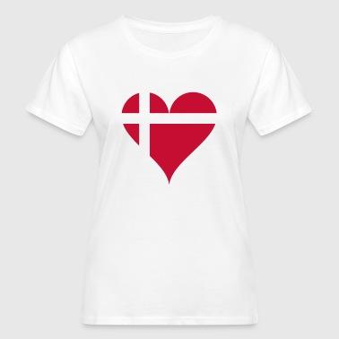 Herz Dänische Flagge Dänemark Fan Geschenk - Frauen Bio-T-Shirt