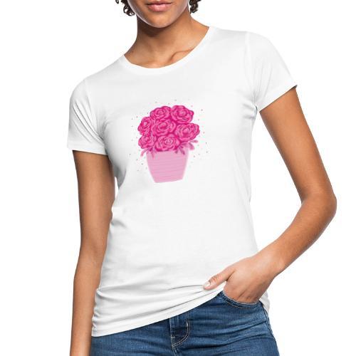 Ranunkeln, Blumen in Pink handgezeichnet - Frauen Bio-T-Shirt