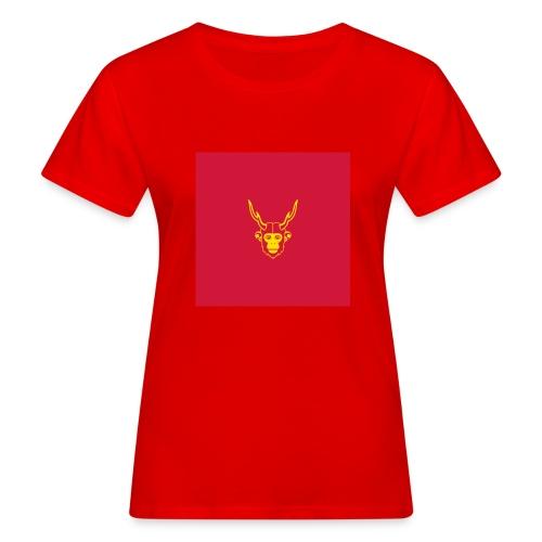 scimmiacervo sfondo rosso - T-shirt ecologica da donna