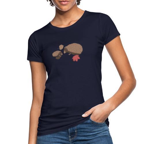 Igel Herbstfreunde beraten sich im Laub - Frauen Bio-T-Shirt