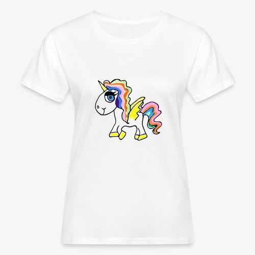 Buntes lässiges Einhorn - Frauen Bio-T-Shirt