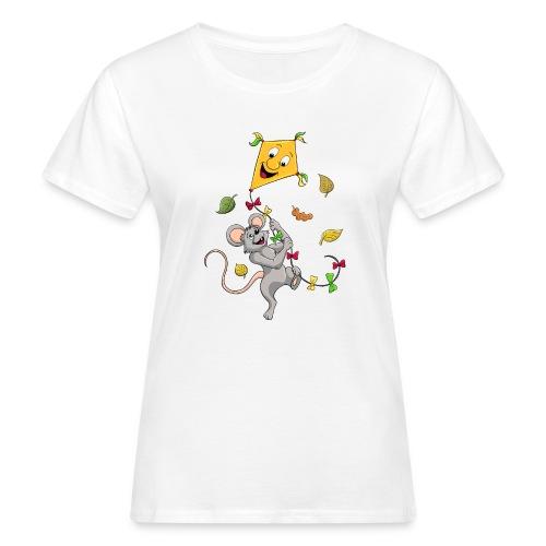 Maus mit Drachen im Herbst - Frauen Bio-T-Shirt