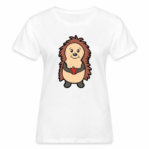 Igel mit Apfel in den Händen - Frauen Bio-T-Shirt