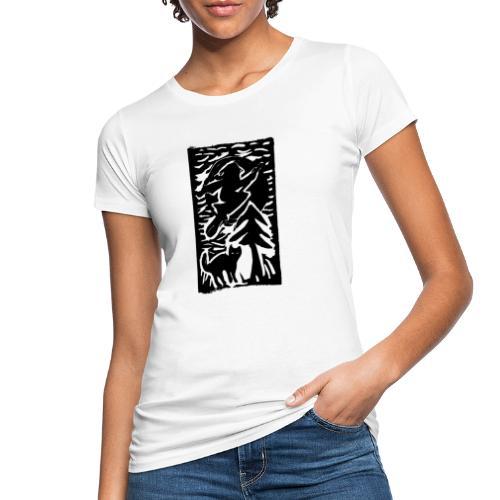 Hexe mit Katze - Frauen Bio-T-Shirt