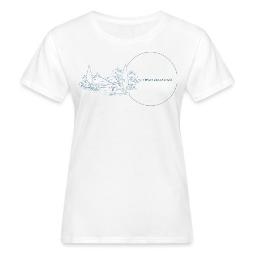 #wirfuersklima Landschaft mit Kreis mit Outline - Frauen Bio-T-Shirt