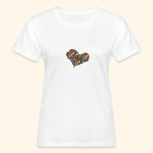 corazón multicolor - Camiseta ecológica mujer