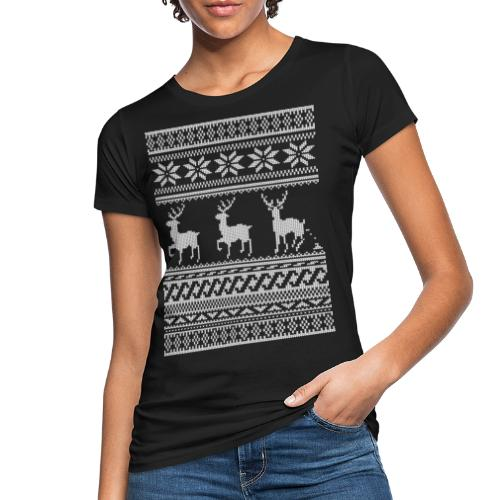 Ugly Christmas Sweater Rentier Muster (lustig) - Frauen Bio-T-Shirt