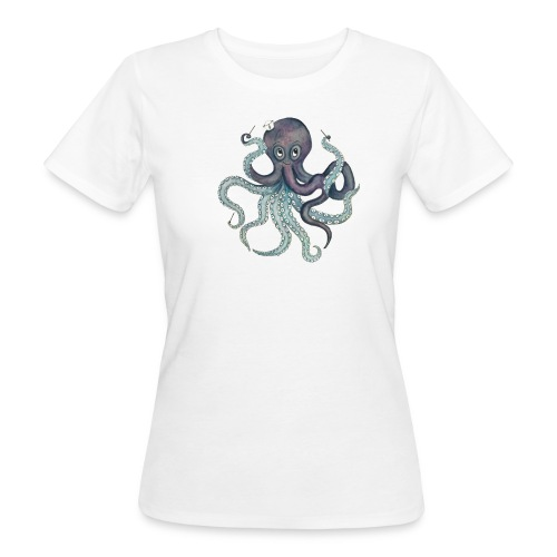 Oktopus mit schwarzem Logo - KlingBim Kinderlieder - Frauen Bio-T-Shirt