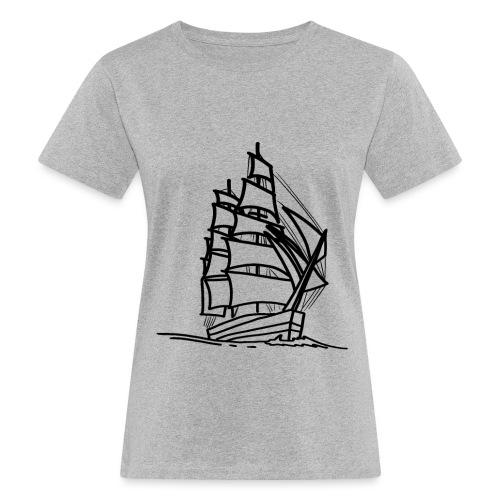 Segelschiff Illustration Meer Schiff Bootsfahrt - Frauen Bio-T-Shirt