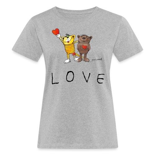 Janosch LOVE Schiftzug Tiger und Bär - Frauen Bio-T-Shirt