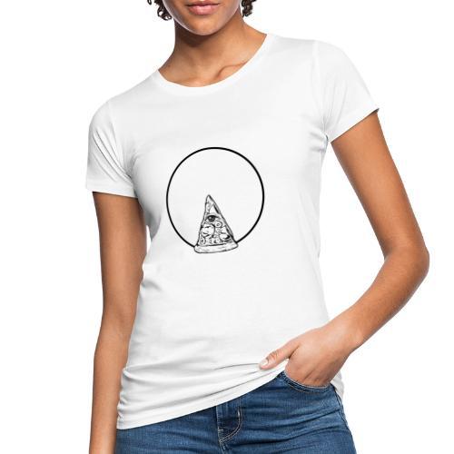 All sehendes Auge Pizza (schwarzer Druck) - Frauen Bio-T-Shirt