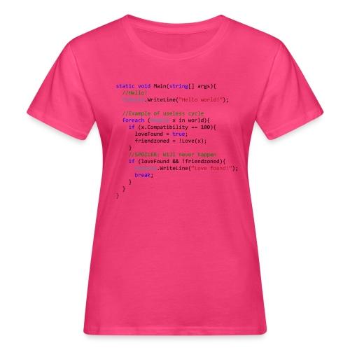 Love seen by a C# programmer - T-shirt ecologica da donna