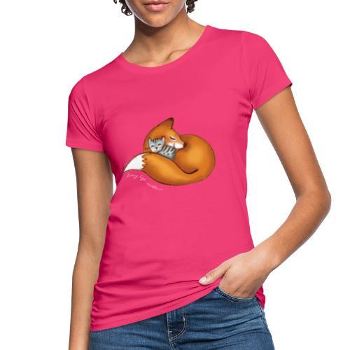 vosje met poes en witte tekst 'every life matters' - Women's Organic T-Shirt