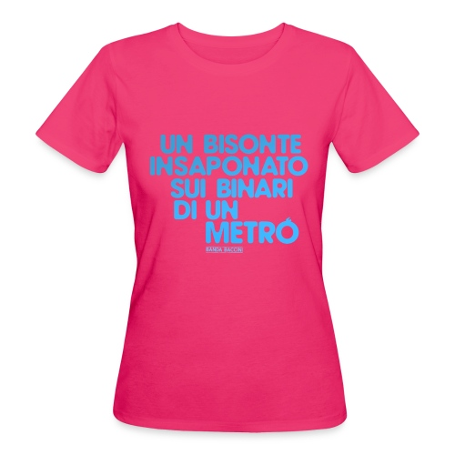 Un bisonte insaponato sui binari di un metrò. - T-shirt ecologica da donna