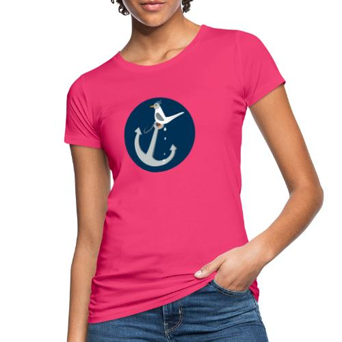 Freche Möwe kackt auf Anker - Frauen Bio-T-Shirt
