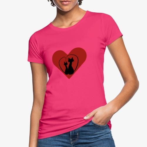 You love cats? Zwarte lovecats met mooi rood hart - Vrouwen Bio-T-shirt
