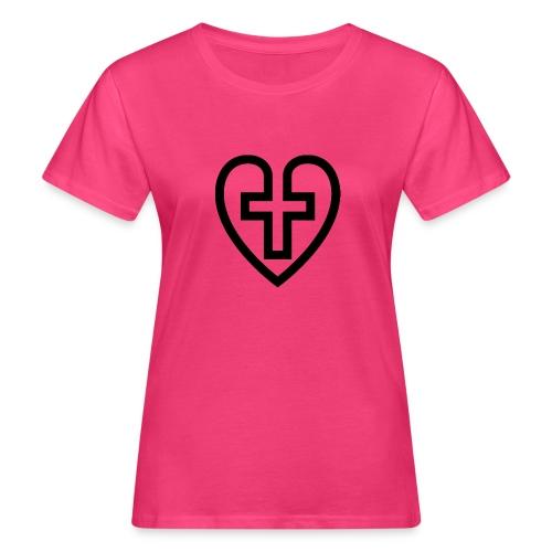 Symboliskt kristet kors i ett hjärta - Ekologisk T-shirt dam