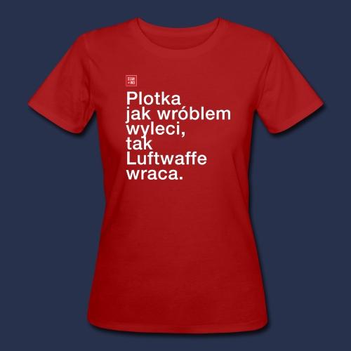 plotka - napis jasny - Ekologiczna koszulka damska