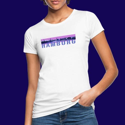 Binnenalster Panorama: pink/blau mit Hamburg Logo - Frauen Bio-T-Shirt