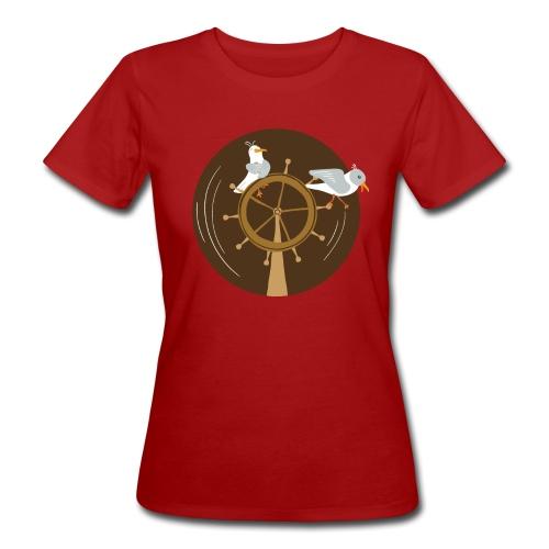 Freche Möwen spielen auf Steuerrad eines Schiffes - Frauen Bio-T-Shirt