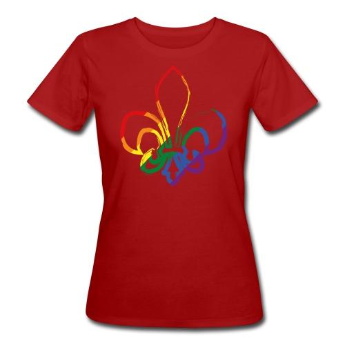 Pinselstrich Lilie Regebogenfahne - Frauen Bio-T-Shirt