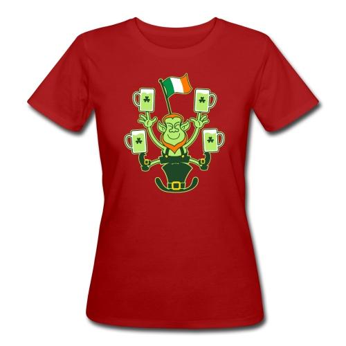 Leprechaun Juggling Beers and Irish Flag - Women's Organic T-Shirt