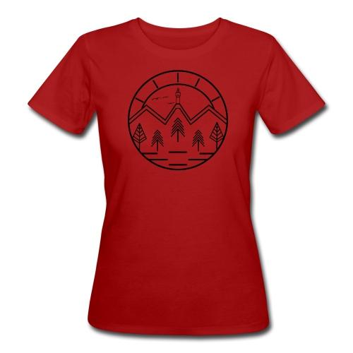 Lineart Schneeberg Fichtelgebirge Bäume Berge - Frauen Bio-T-Shirt