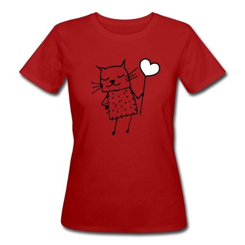 Katze mit Herz: Liebe - Frauen Bio-T-Shirt